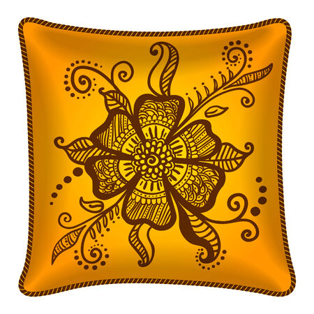 Interior design element: Decorative pillow, patterned pillowcase (henna flower). Isolated on white. Vector illustration. Vector
