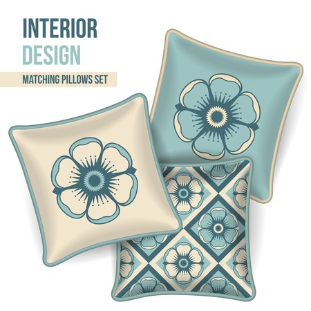 Set of 3 matching decorative pillows for interior design (teal floral pattern). Vector illustration. Vector