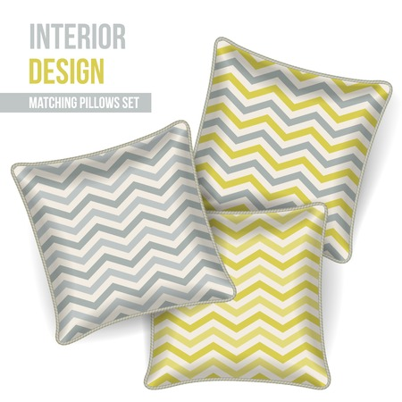 Set of 3 matching decorative pillows for interior design (mustard and grey chevron pattern). Vector illustration. Vector