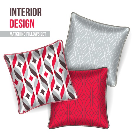 Set of 3 matching decorative pillows for interior design (red ribbon pattern). Vector illustration.