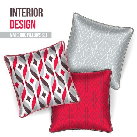 room accents: Set di cuscini decorativi 3 corrispondente per l'interior design (modello nastro rosso). Illustrazione vettoriale.