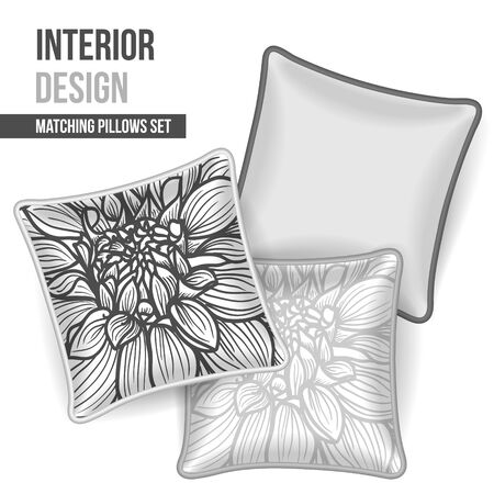 Set of 3 matching decorative pillows for interior design (black and white flower pattern). Vector illustration. Vector