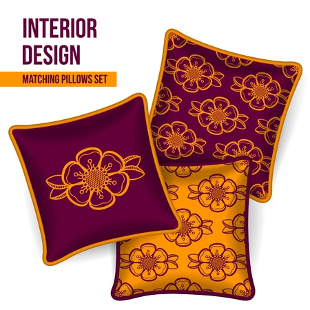 luxury hotel room: Set of 3 matching decorative pillows for interior design (colorful flower pattern). Vector illustration. Illustration