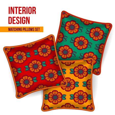 home accents: Set of 3 matching decorative pillows for interior design (colorful flower pattern). Vector illustration. Illustration