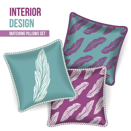 room accent: Set of 3 matching decorative pillows for interior design (orchid feathers pattern). Vector illustration. Illustration