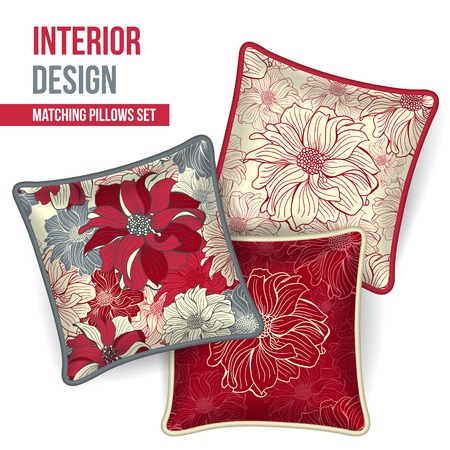 home accents: Set of 3 matching decorative pillows for interior design (red flower pattern). Vector illustration.