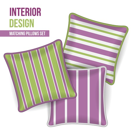 Set of 3 matching decorative pillows for interior design (orchid and lime green stripe pattern). Vector illustration. Vector