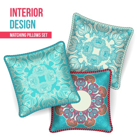 Set of 3 matching decorative pillows for interior design  turquoise oriental pattern   Vector illustration