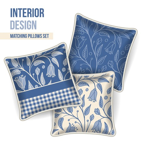 home accent: Set of 3 matching decorative pillows for interior design  dark blue floral pattern   Vector illustration