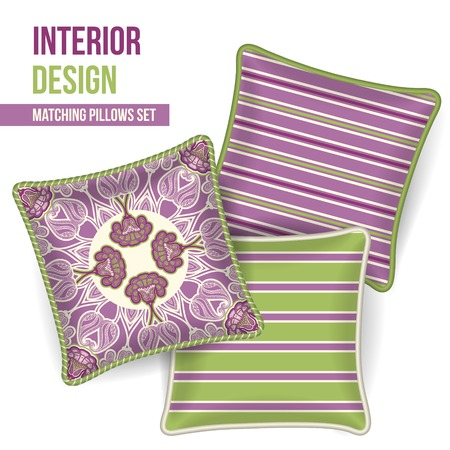 room accents: Set of 3 matching decorative pillows for interior design  orchid and lime green stripe pattern   Vector illustration  Illustration