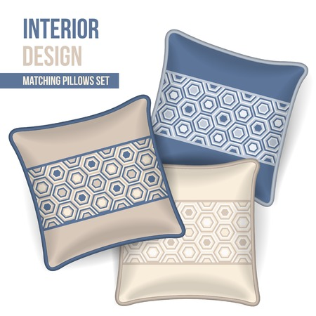 home accents: Set of 3 matching decorative pillows for interior design  three colors geometric pattern   Vector illustration  Illustration
