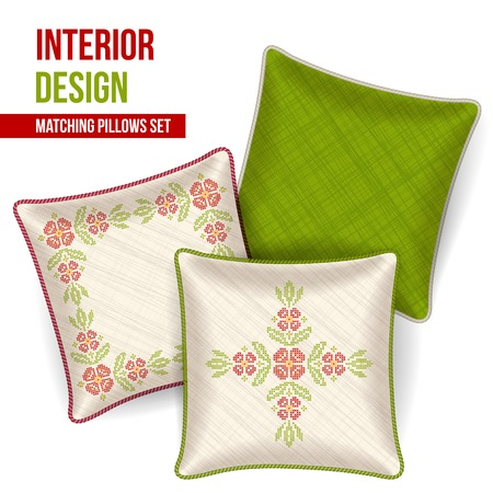 Set of 3 matching decorative pillows for interior design  ukrainian cross stitch pattern   Vector illustration  Vector