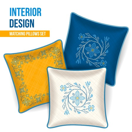 Set of 3 matching decorative pillows for interior design  ukrainian cross stitch pattern   Vector illustration  Illustration