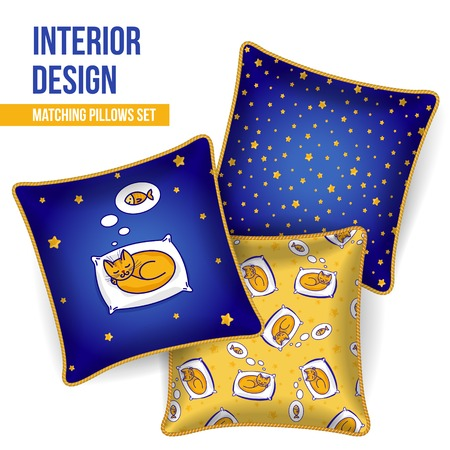 home accents: Set of 3 matching decorative pillows for interior design  sleeping cat dreaming of fish   Vector illustration  Illustration