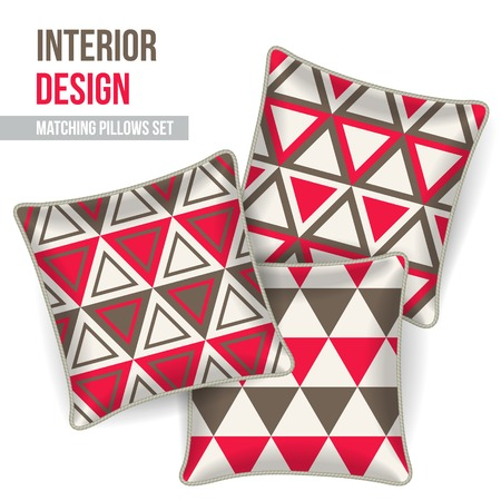 Set of 3 matching decorative pillows for interior design  redand grey triangles pattern   Vector illustration  Vector