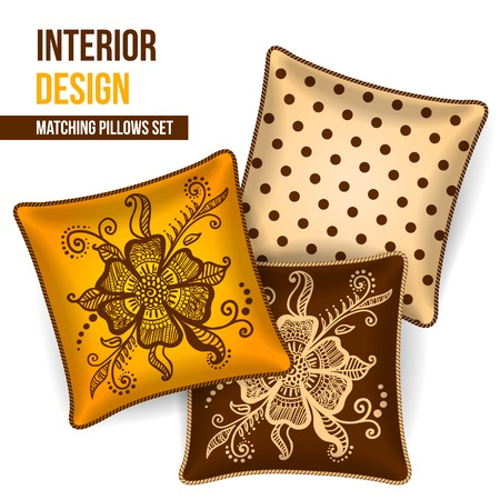 room accent: Set of 3 matching decorative pillows for interior design  mustard and grey chevron pattern   Vector illustration