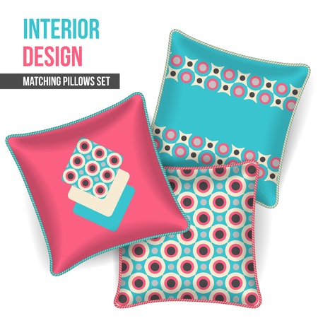room accents: Set of 3 matching decorative pillows for interior design  pink geometric pattern   Vector illustration