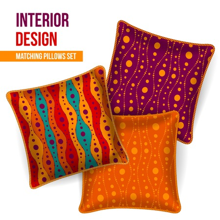 Set of 3 matching decorative pillows for interior design  orange wave pattern   Vector illustration  Stock Vector - 24542726