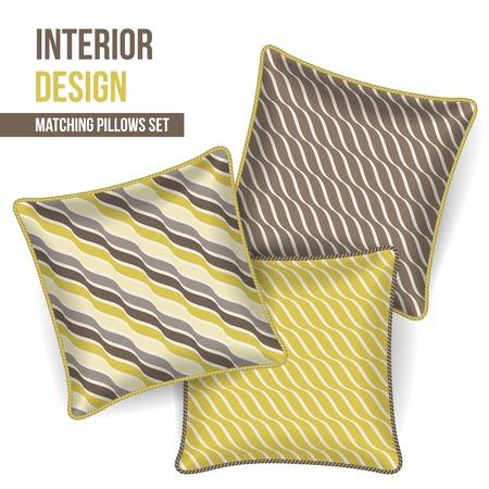 room accents: Set di 3 corrispondenti cuscini decorativi per interni senape disegno e modello d'onda grigio vettore Vettoriali