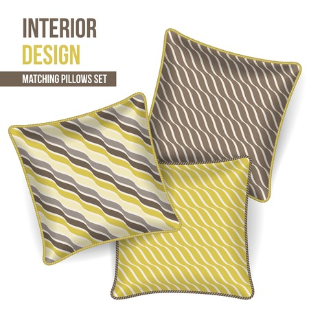home accents: Set of 3 matching decorative pillows for interior design  mustard and grey wave pattern   Vector illustration