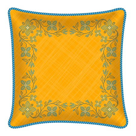 Decorative pillow  cross stitch flowers in ukrainian traditional style Stock Vector - 24635740