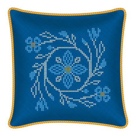 Decorative pillow cross stitch flowers in ukrainian traditional style Vector