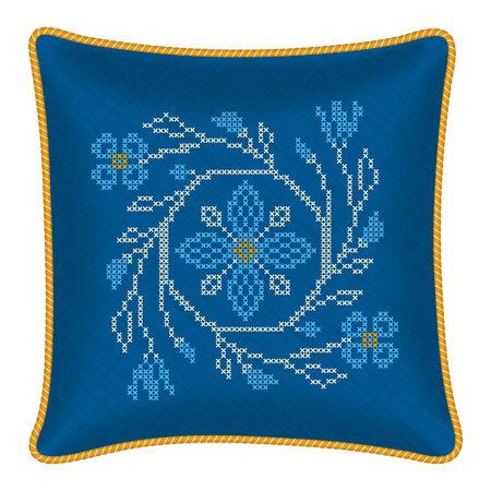punto croce: Fiori decorativi cuscino a punto croce in stile tradizionale ucraino