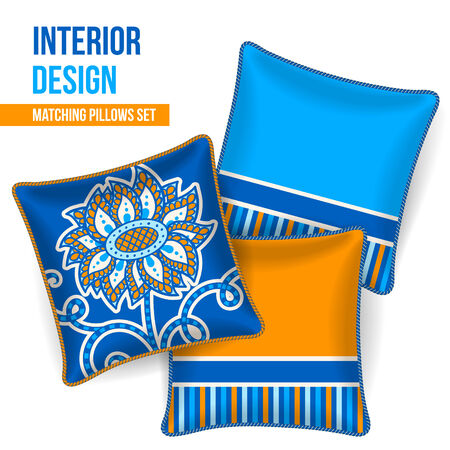 room accent: Set of 3 matching decorative pillows for interior design  blue and yellow flower pattern