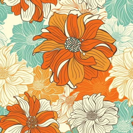 Hand-drawn flowers of dahlia  Seamless vector background