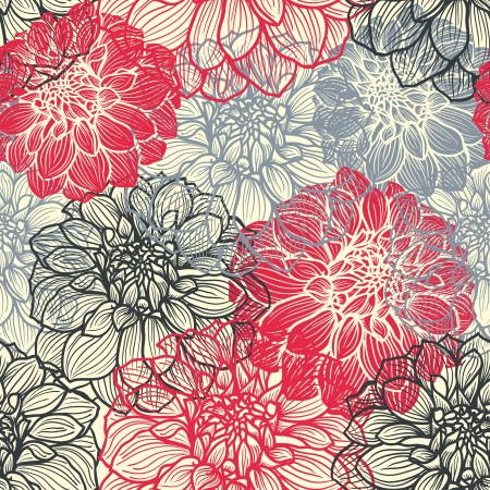 Hand-drawn flowers of dahlia  Seamless vector pattern  Background in red, grey and black colors  Illustration