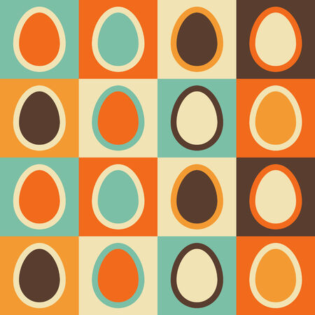 Colorful Easter pattern with geometric eggs in retro colors  Seamless vector background  Vector