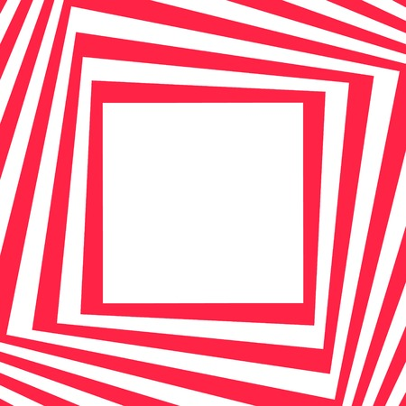 Abstract background in Opt Art style - red striped frame. Vector illustration.