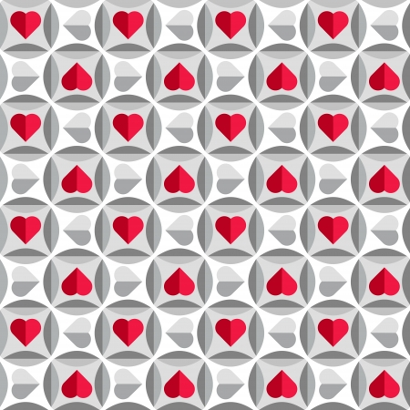 Geometric pattern with hearts in red and grey colors, seamless vector background for valentines day Vector