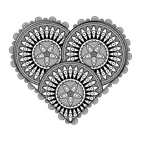 Valentines Day Card with patterned heart in black and white colors Vector