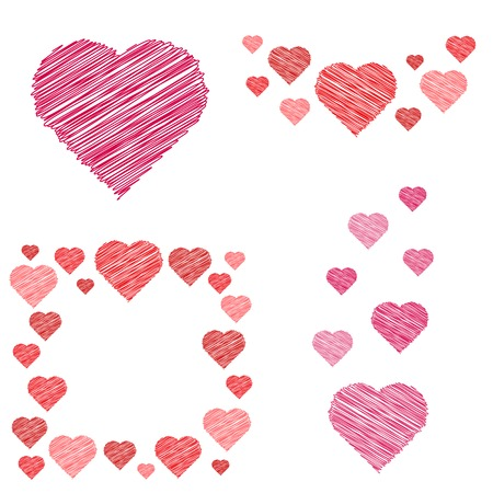 be happy: Set of different hearts compositions in sketch style - design elements for  Valentines Day. Vector illustration.
