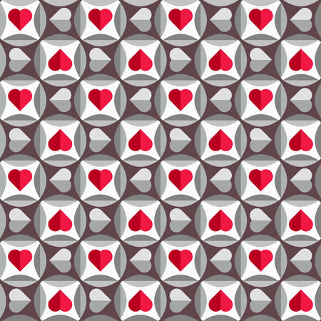 Geometric pattern with hearts in red and grey colors, seamless vector background for valentine Vector