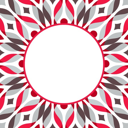 Abstract geometric pattern in red-grey-brown colors, with waves and dots. Vector illustration. Vector