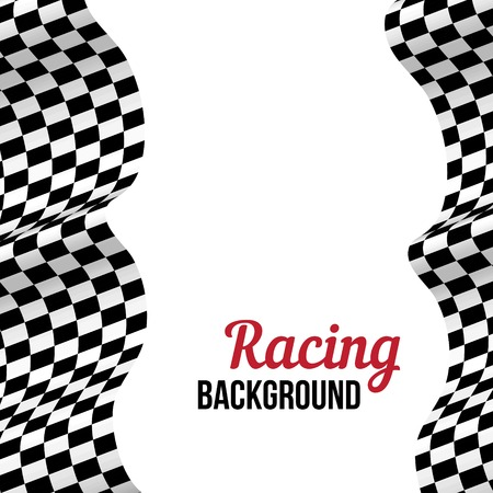 Background with black and white checkered racing flag. Vector illustration.