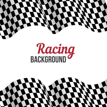 motor race: Achtergrond met zwart-wit geblokte vlag racen. Vector illustratie. Stock Illustratie