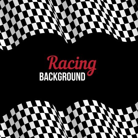 checker flag: Background with black and white checkered racing flag. Vector illustration.