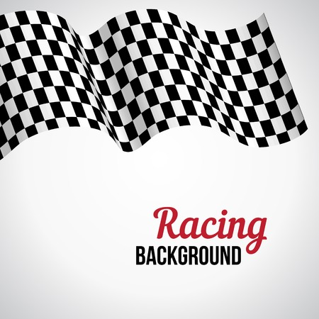 checked: Background with black and white checkered racing flag. Vector illustration.
