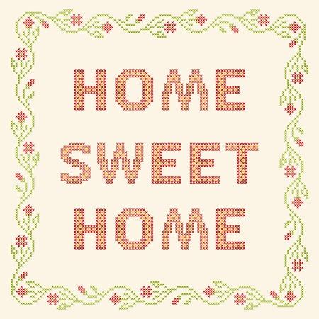 bordados: Los elementos de diseño para el bordado de punto de cruz. Hogar, dulce hogar, ilustración vectorial. Marco floral.