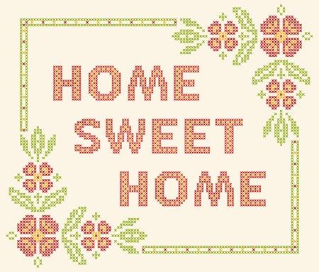 punto cruz: Los elementos de diseño para el bordado de punto de cruz. Hogar, dulce hogar, ilustración vectorial. Marco floral.