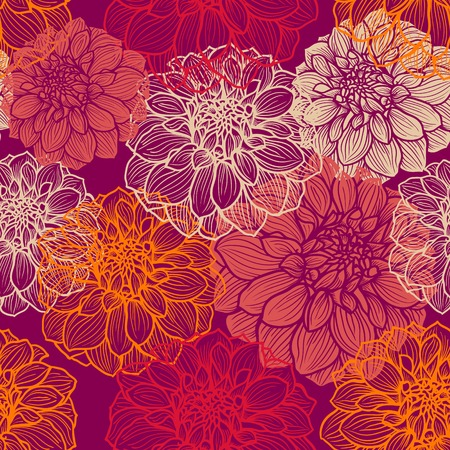 Hand-drawn flowers of dahlia. Seamless vector pattern for textile, cloth, fabric, web, wrap paper etc.