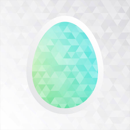 tessellation: Easter card - white paper cut egg on triangles tessellation background