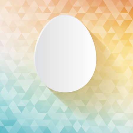 Easter card - white paper cut egg on triangles tessellation background Vector