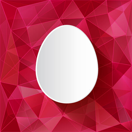 tessellation: Easter card - white paper cut egg on triangles tessellation background  Abstract vector illustration