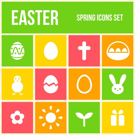 Set of colourful Easter icons in flat style Vector