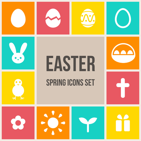Set of colorful Easter icons in flat style illustration Vector