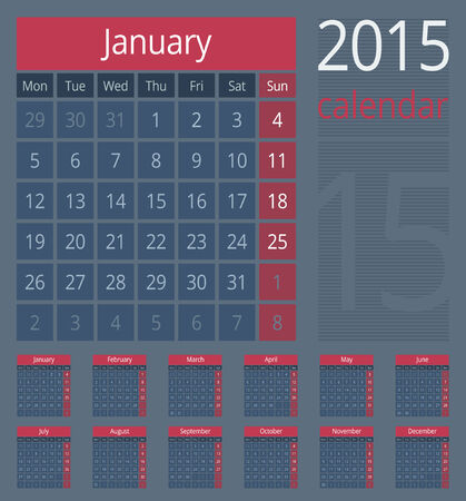Simple european calendar grid for 2015 year. Clean and neat. Only plain colors - easy to recolor. Vector illustration. Vector